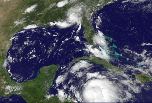 This NASA satellite image shows Tropical Storm Ernesto in the Caribbean on August 6 (AFP/NASA)