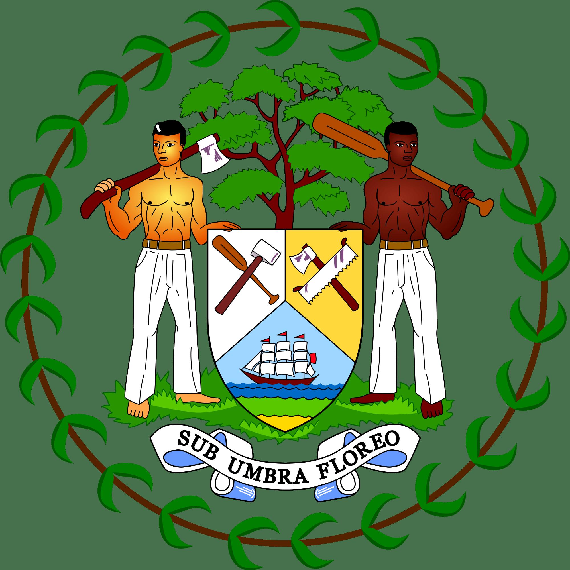 Belize National Symbols Flag Arms Flower Tree Bird Animal