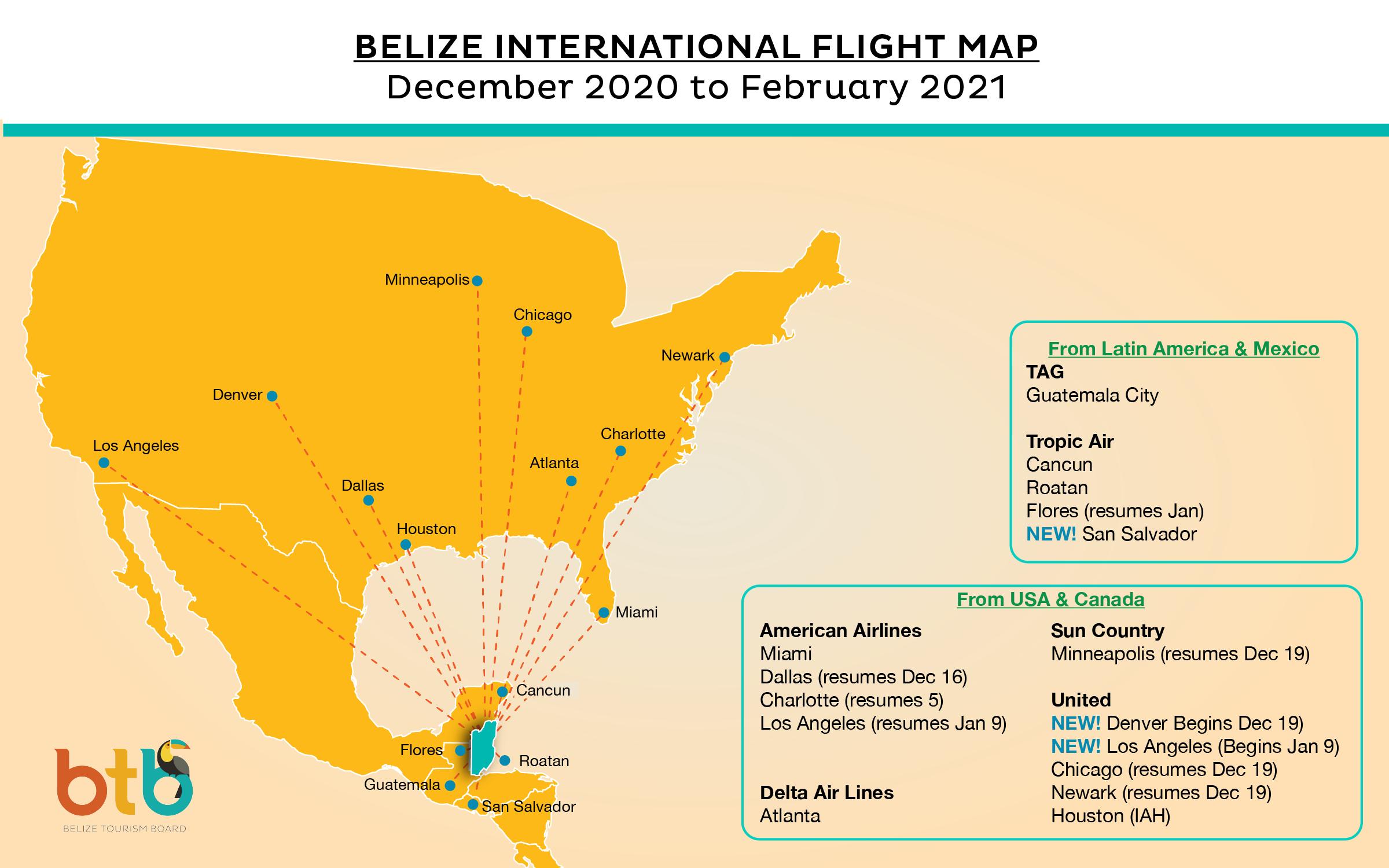 BELIZE FLIGHT MAP